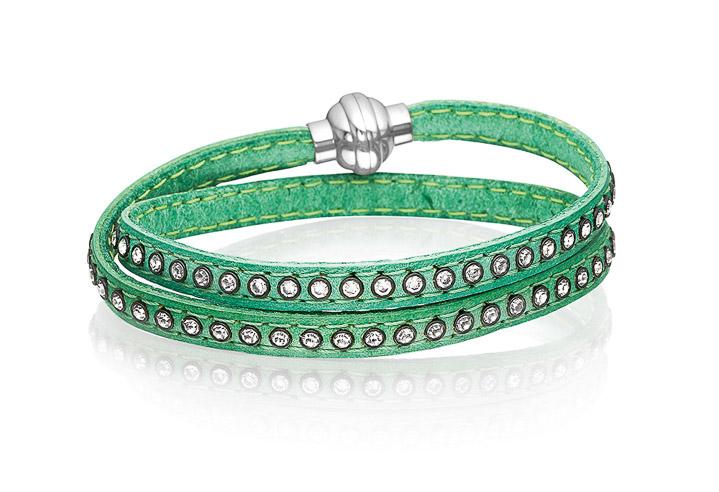 Armband 925 Silber Arezzo aus grünem Leder mit weißen Zirkonia 38 cm