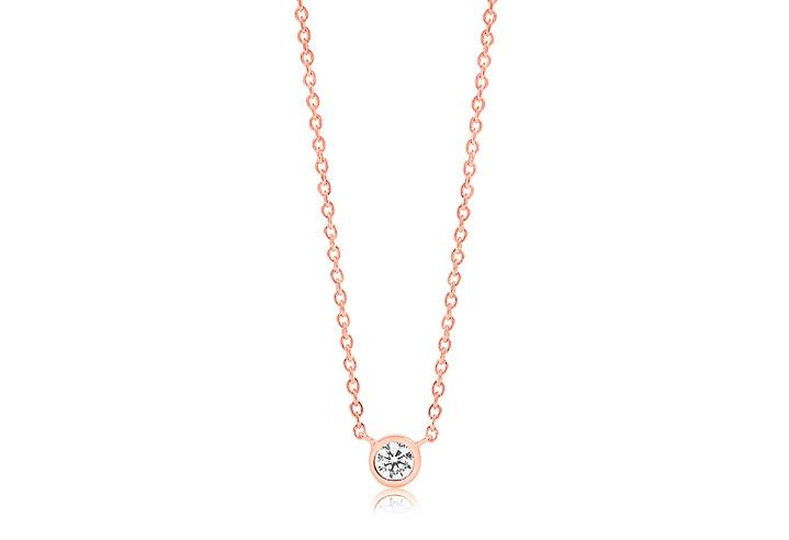 Halskette 925 Silber Sardinien 18k Roségold plattiert mit weißen Zirkonia