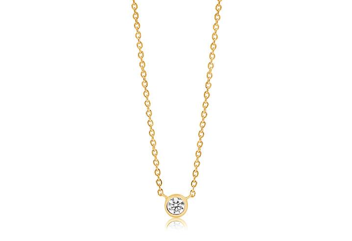 Halskette 925 Silber Sardinien 18k Gelbgold plattiert mit weißen Zirkonia