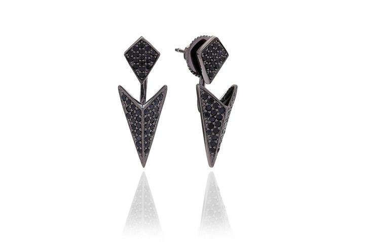 Ohrringe 925 Silber Pecetto mit schwarzen Zirkonia