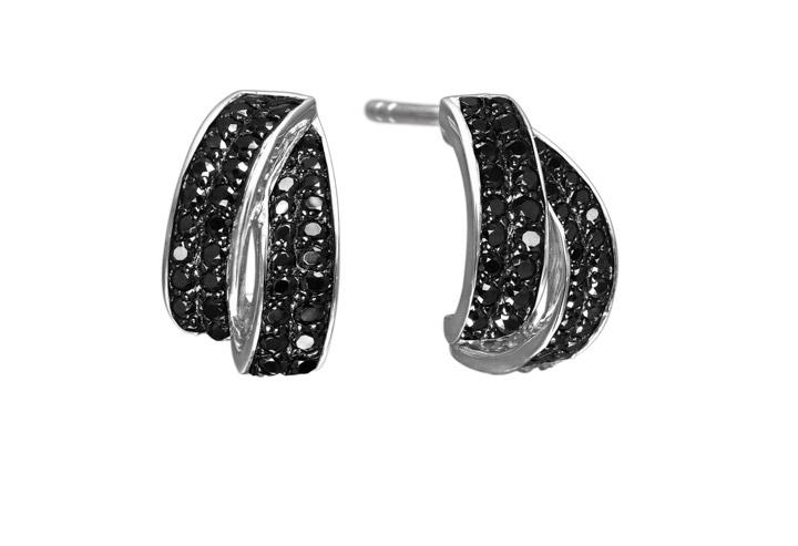 Ohrringe 925 Silber Cosenza mit schwarzen Zirkonia