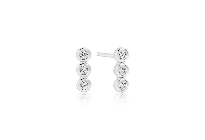 Ohrringe 925 Silber Sardinien Tre Piccolo mit weißen Zirkonia