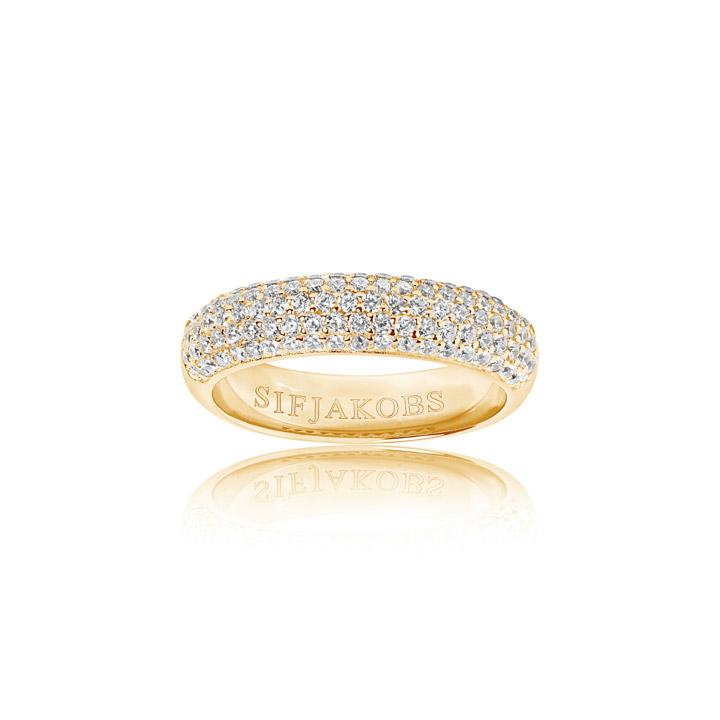Ring 925 Silber Melazzo 18k Gelbgold plattiert mit weißen Zirkonia, 56 / 17,8