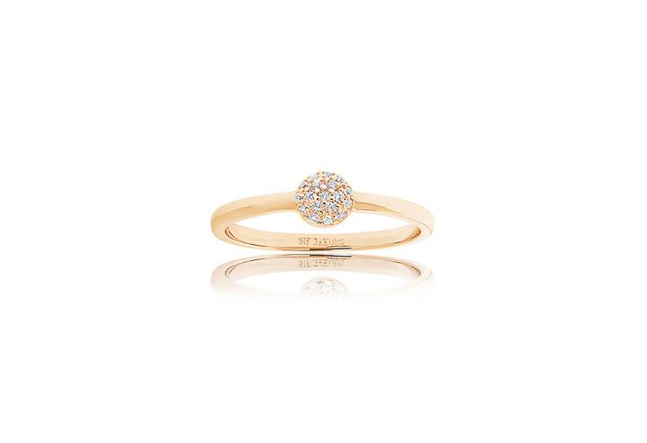 Ring 925 Silber Grezzana 18k Gelbgold plattiert mit weißen Zirkonia,  54 / 17,2