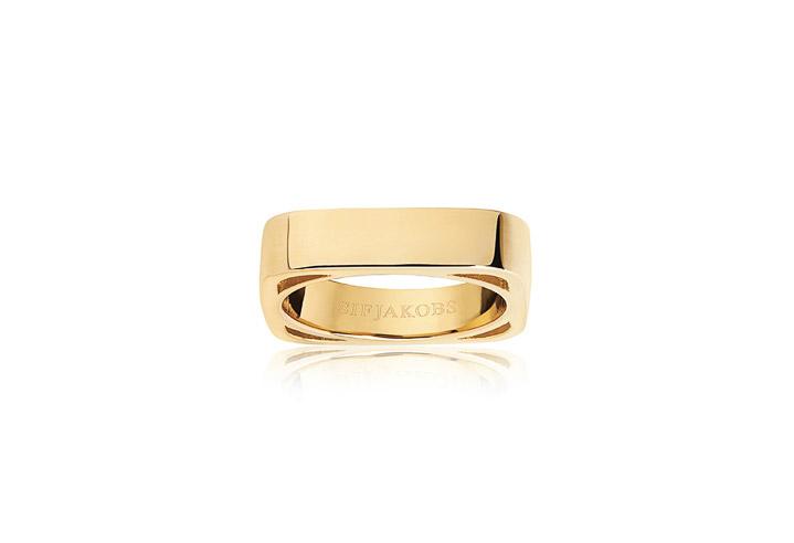 Ring 925 Silber Matera Pianura 18k Gelbgold plattiert, 56 / 17,8