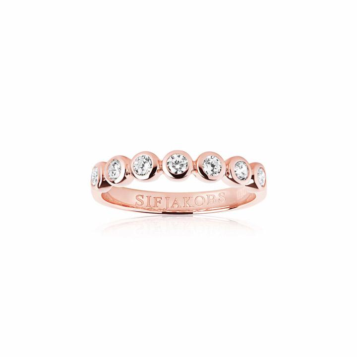 Ring 925 Silber Sardinien Sette 18k Roségold plattiert mit weißen Zirkonia,  54 / 17,2
