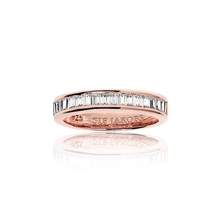 Ring 925 Silber Corte Baguette - 18k Roségold plattiert mit Zirkonia, 56 - 17,8
