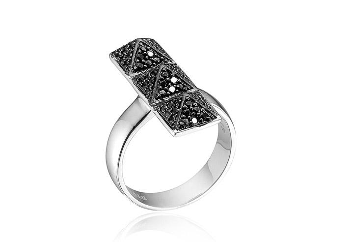 Ring 925 Silber Panzano Tre mit schwarzen Zirkonia, 54 / 17,2
