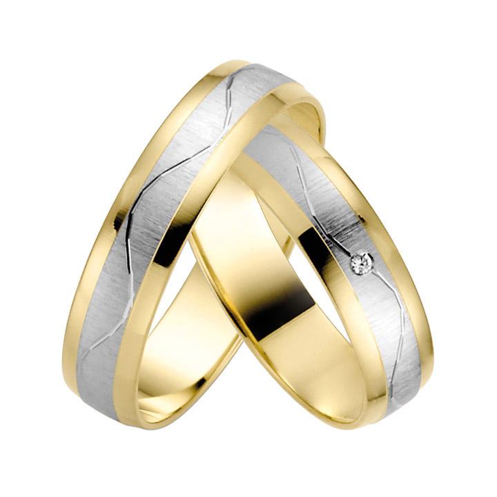 Trauringe Paar, Gelb/Weiss 333 Gold, Eheringe, bei Damenring inkl. 1 Brillant