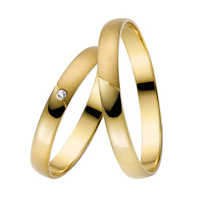 Trauringe Paar, Gelb 333 Gold, Eheringe, bei Damenring inkl. 1 Brillant