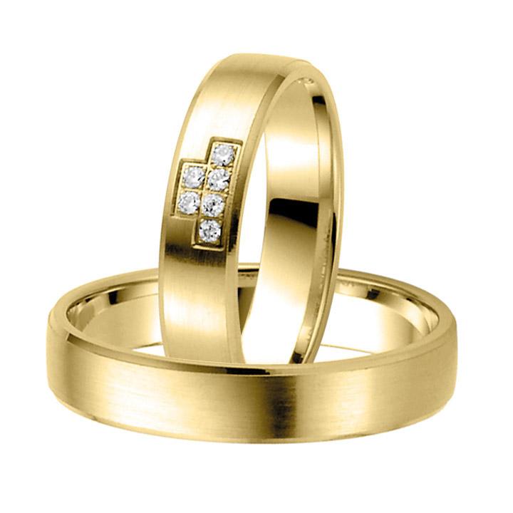 Trauringe Paar, Gelb 333 Gold, Eheringe, bei Damenring inkl. 6 Brillanten