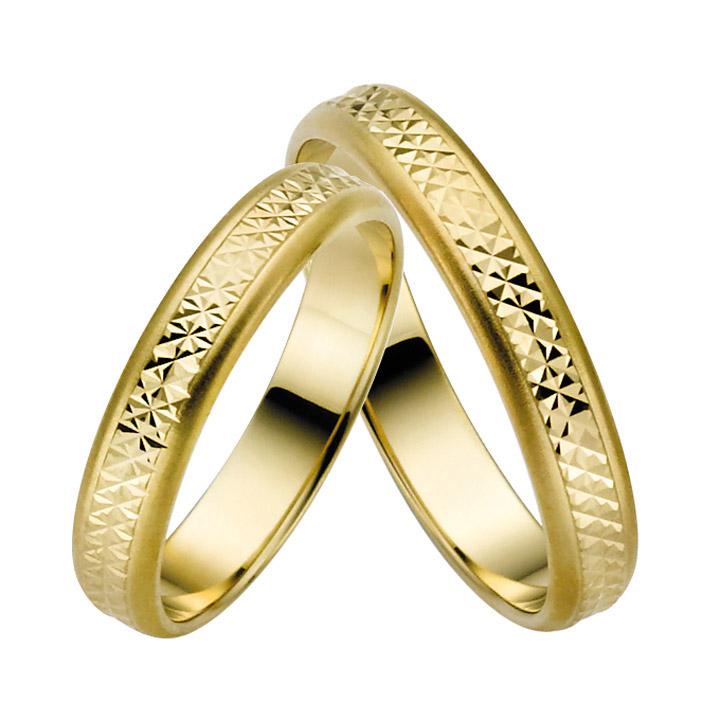 Trauringe Paar, Gelb 333 Gold, Eheringe