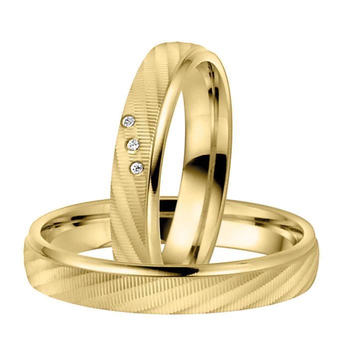 Trauringe Paar, Gelb 333 Gold, Eheringe, bei Damenring inkl. 3 Brillanten