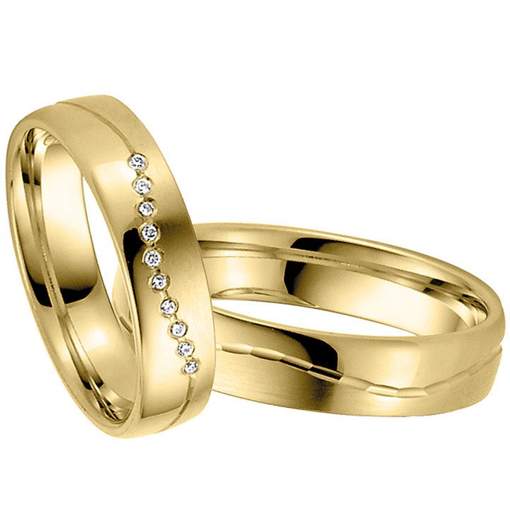 Trauringe Paar, Gelb 333 Gold, Eheringe, bei Damenring inkl. 10 Brillanten