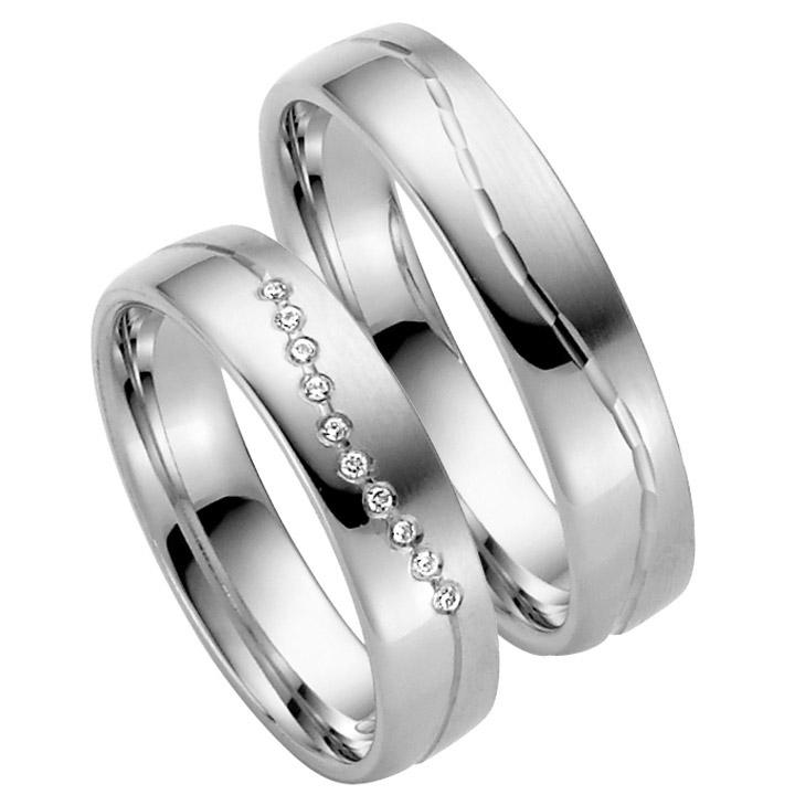 Trauringe Paar, Weiss 333 Gold, Eheringe, bei Damenring inkl. 10 Brillanten