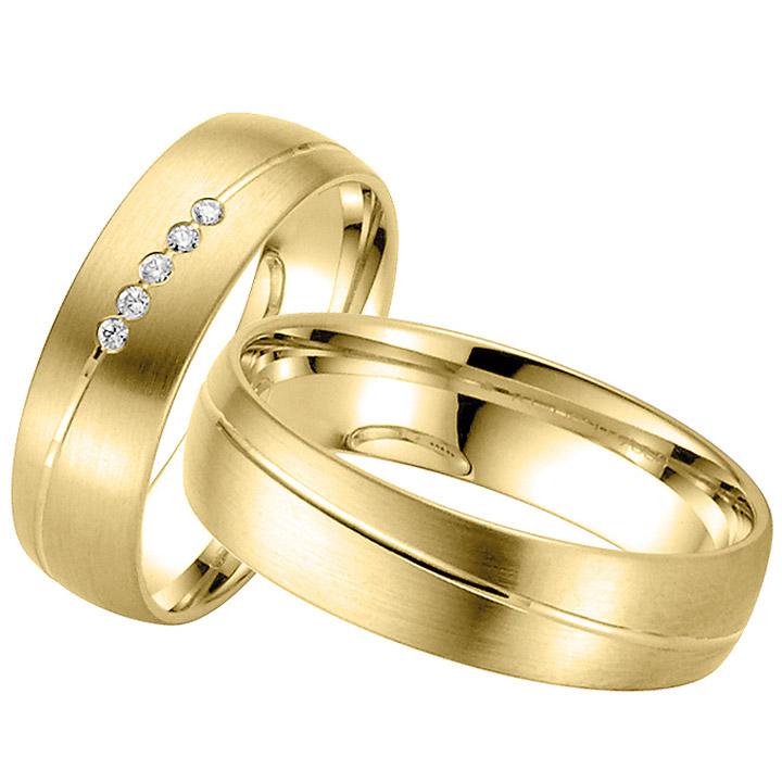 Trauringe Paar, Gelb 333 Gold, Eheringe, bei Damenring inkl. 5 Brillanten