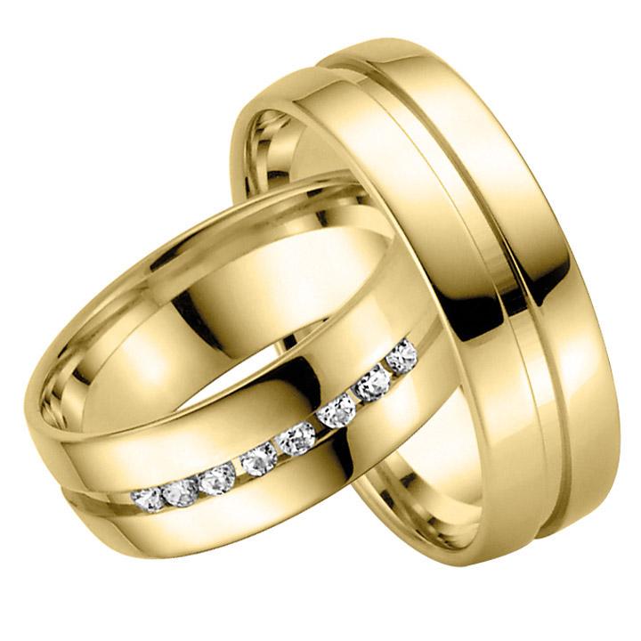 Trauringe Paar, Gelb 333 Gold, Eheringe, bei Damenring inkl. 8 Brillanten