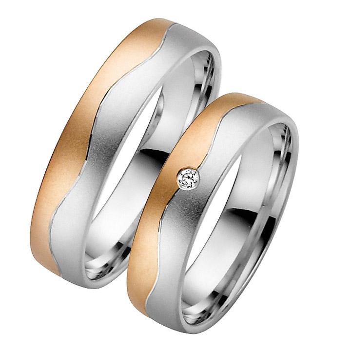 Trauringe Paar, Rosé/Weiss 333 Gold, Eheringe, bei Damenring inkl. 1 Brillant