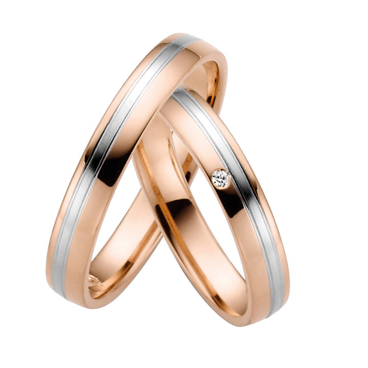 Trauringe Paar, Rosé/Weiss 333 Gold u. 500 Palladium, Eheringe, bei Damenring inkl. 1 Brillant