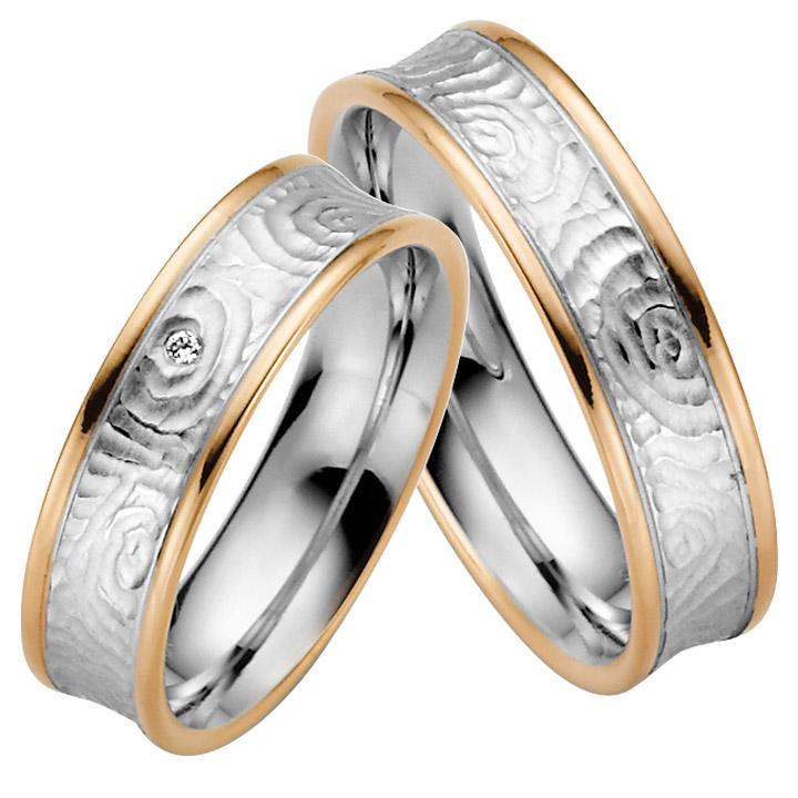 Trauringe Paar, Weiss/Rosé 333 Gold, Eheringe, bei Damenring inkl. 1 Brillant