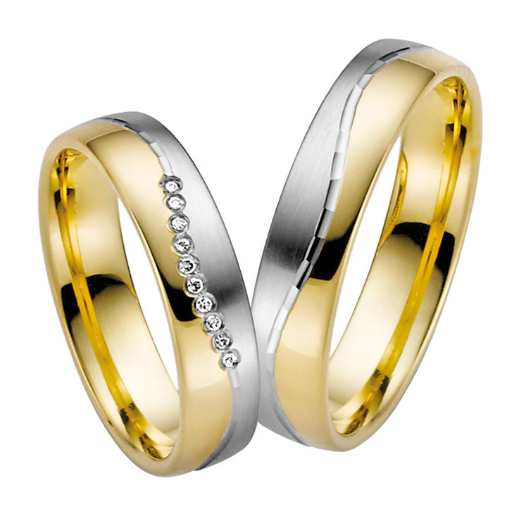 Trauringe Paar, Weiss/Gelb 333 Gold, Eheringe, bei Damenring inkl. 10 Brillanten
