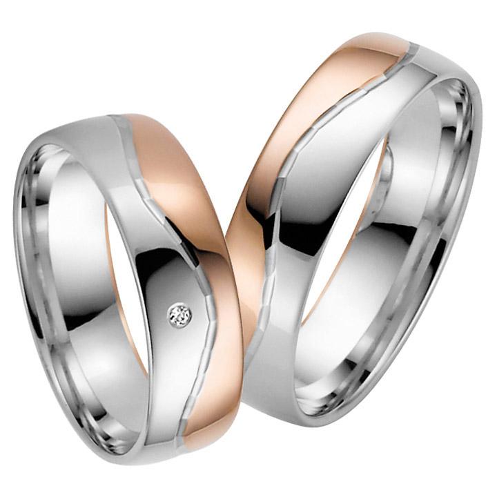 Trauringe Paar, Weiss/Rosé 333 Gold u. 500 Palladium, Eheringe, bei Damenring inkl. 1 Brillant