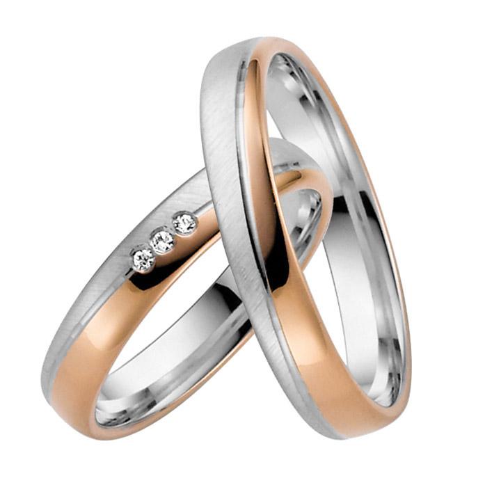 Trauringe Paar, Rosé/Weiss 333 Gold u. 500 Palladium, Eheringe, bei Damenring inkl. 3 Brillanten