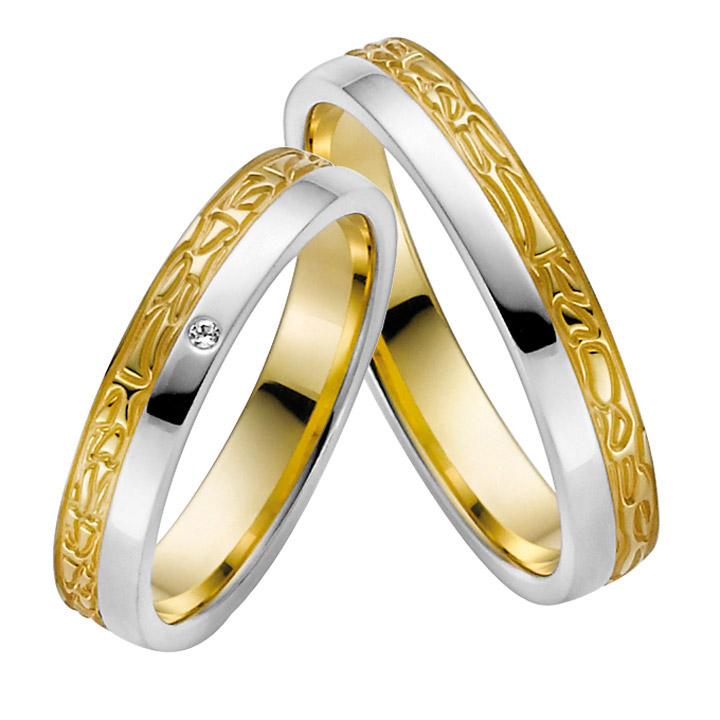 Trauringe Paar, Weiss/Gelb 333 Gold u. 500 Palladium, Eheringe, bei Damenring inkl. 1 Brillant