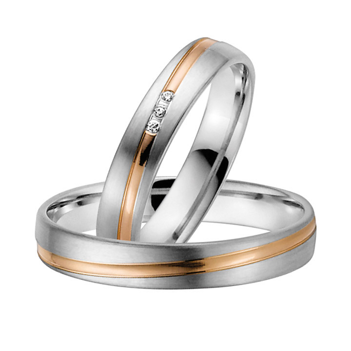 Trauringe Paar, Weiss/Rosé 333 Gold u. 500 Palladium, Eheringe, bei Damenring inkl. 3 Brillanten