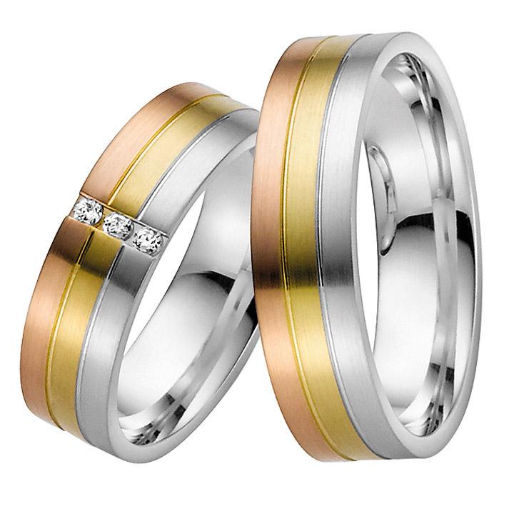 Trauringe Paar, Gelb/Weiss/Rosé 333 Gold, Eheringe, bei Damenring inkl. 3 Brillanten