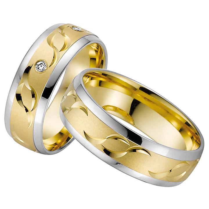 Trauringe Paar, Gelb/Weiss 333 Gold u. 500 Palladium, Eheringe, bei Damenring inkl. 3 Brillanten