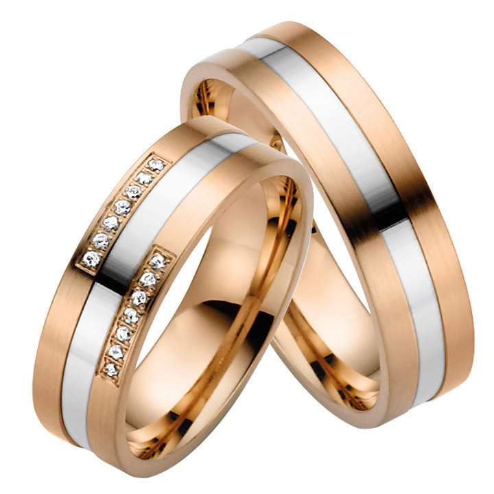 Trauringe Paar, Rosé/Weiss 333 Gold, Eheringe, bei Damenring inkl. 14 Brillanten