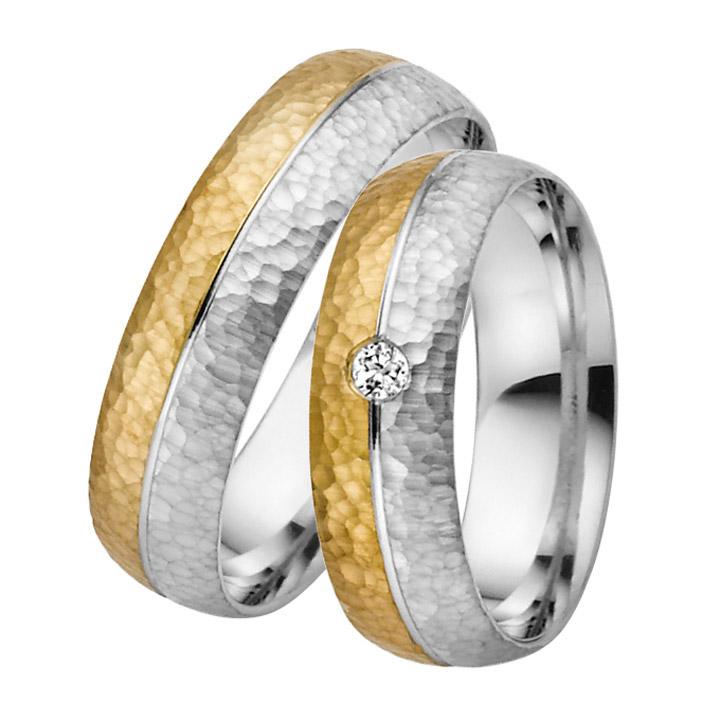Trauringe Paar, Gelb/Weiss 333 Gold u. 500 Palladium, Eheringe, bei Damenring inkl. 1 Brillant