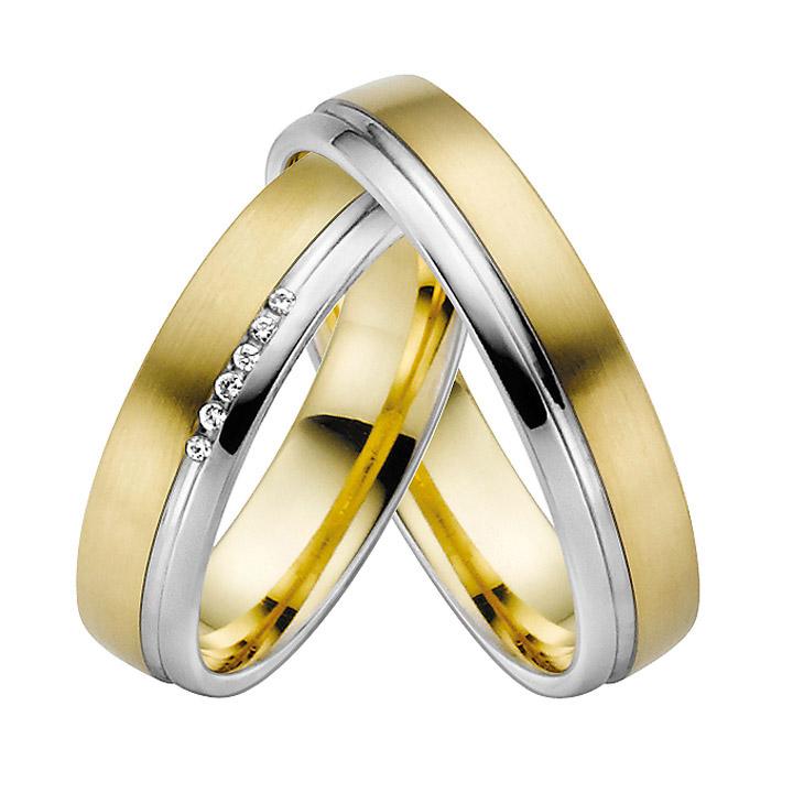 Trauringe Paar, Gelb/Weiss 333 Gold, Eheringe, bei Damenring inkl. 7 Brillanten