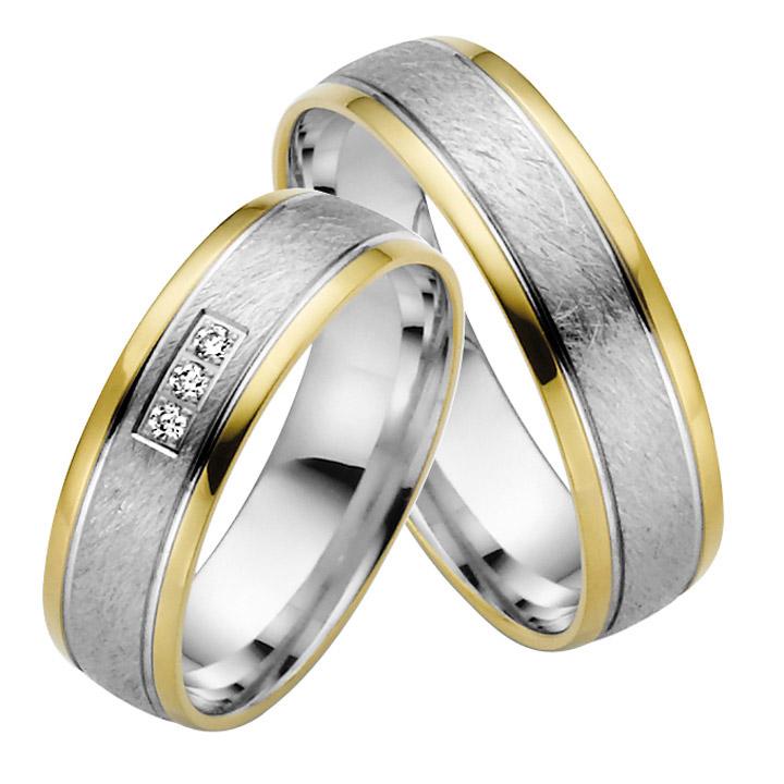 Trauringe Paar, Weiss/Gelb 333 Gold, Eheringe, bei Damenring inkl. 3 Brillanten