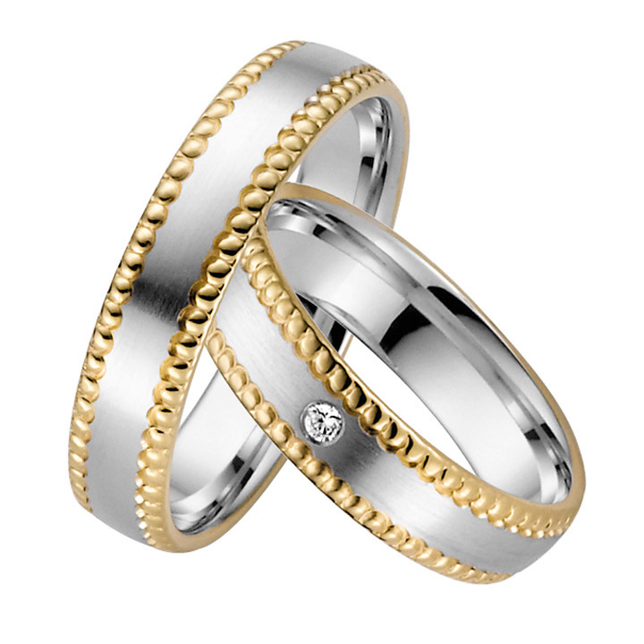 Trauringe Paar, Weiss/Gelb 333 Gold, Eheringe, bei Damenring inkl. 1 Brillant