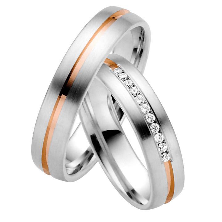 Trauringe Paar, Weiss/Rosé 333 Gold, Eheringe, bei Damenring inkl. 11 Brillanten