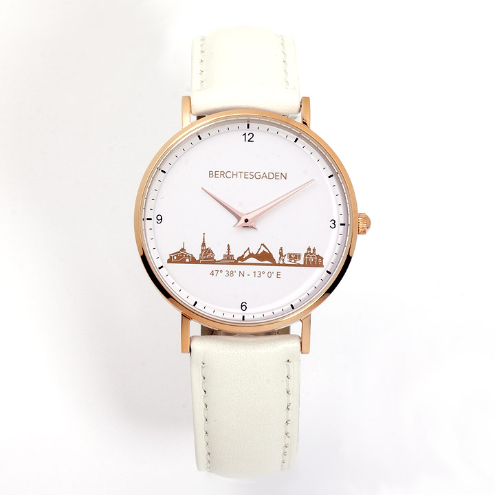 Armbanduhr Berchtesgaden Damen Lederband weiß
