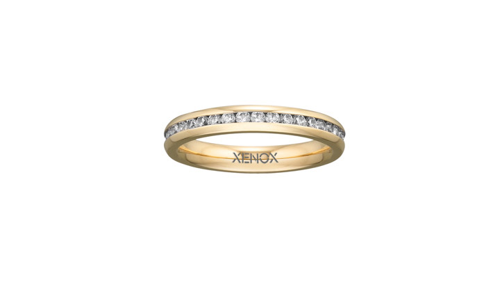 Ring Edelstahl Zirkonia IP gelbgold, 50 / 15,9