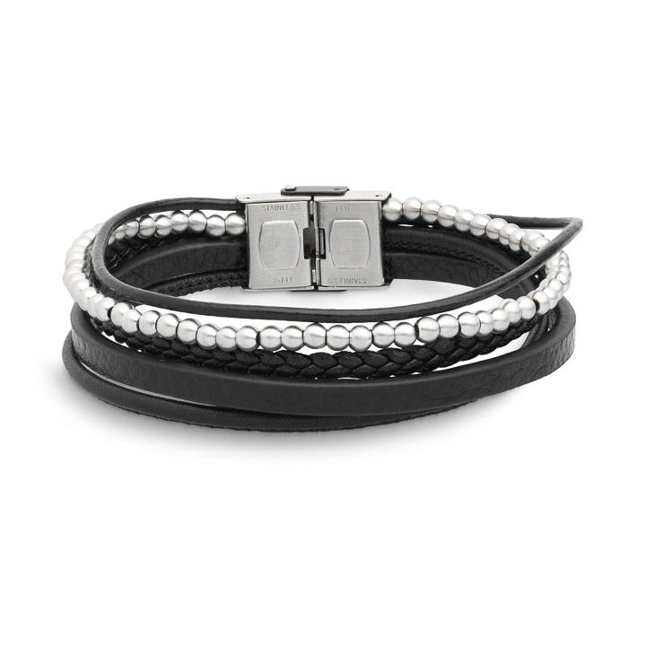 Armband Edelstahl Leder 22cm