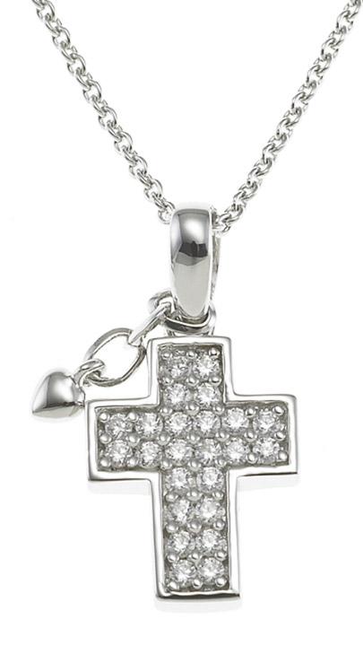 Collier Kreuz 925 Silber Zirkonia 40-45 cm