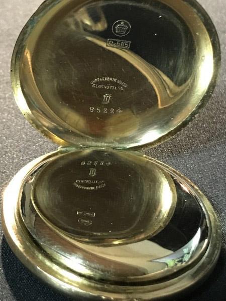 """noch einmal: Taschenuhr """"Uhrenfabrik Union Glashütte in Sachsen"""" - 585er Gold"""