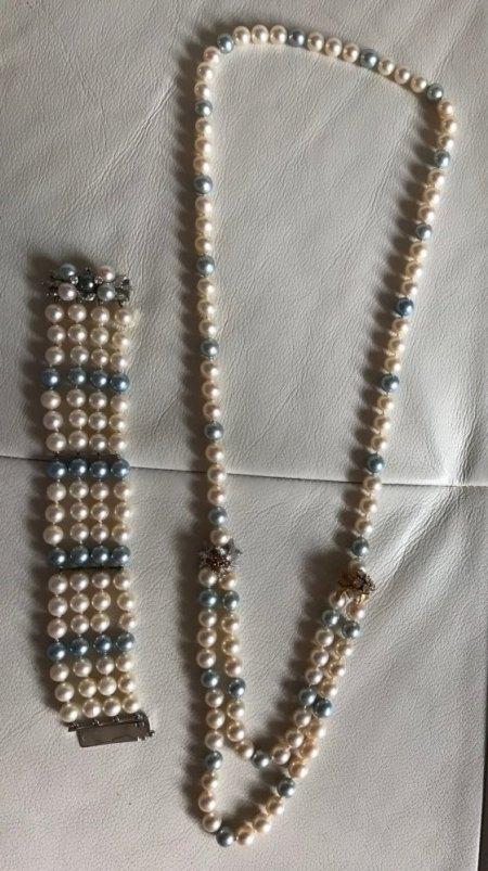 Zuchtperlenkette und Armband mit Brillanten