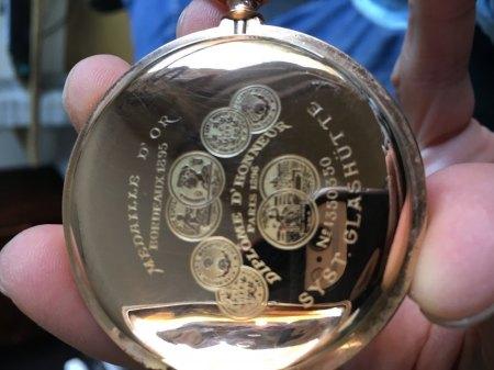 System Glashütte Medaille d´Or Bordeaux 1895, Diplpme d´honneur Paris 1896, Nr. 1350350 ! 119,8 gramm schwer, 14 Karat Gold