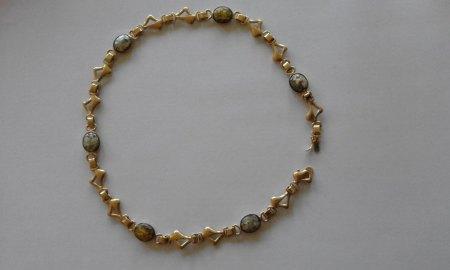 Collier aus Jerusalem (Gold 14 Karat mit römischem Glas)