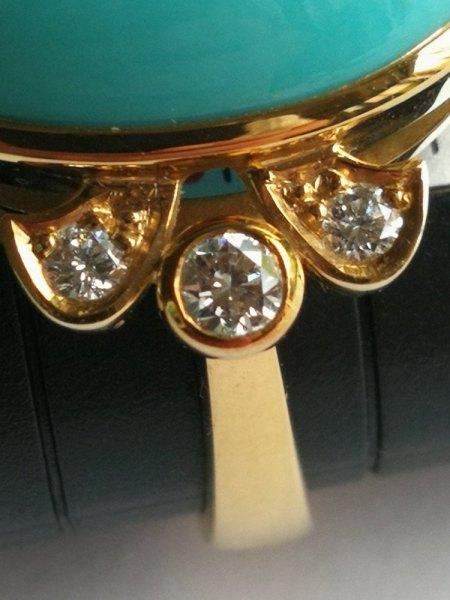 Ich biete einen Türkis-Brilliant Ring 750er
