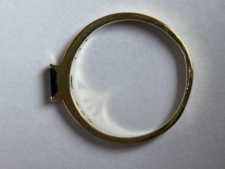 Ring 585 GG mit Blauem Stein