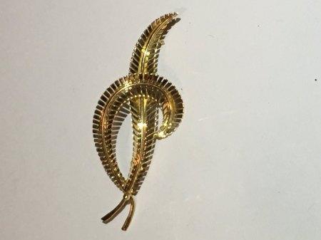 Gold Anstecker Brosche / Federn