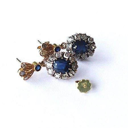 Ohrstecker mit Saphiren und Diamanten