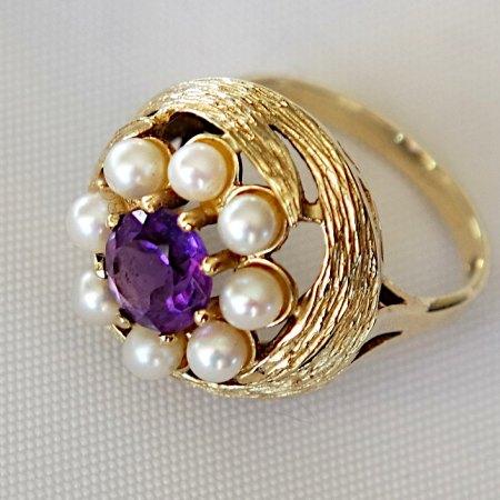 Amethystring mit Perlen